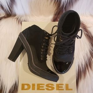 Diesel black high heeled lace up sneaker boots